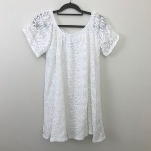 Banana Republic White Lace Off Shoulder Dress